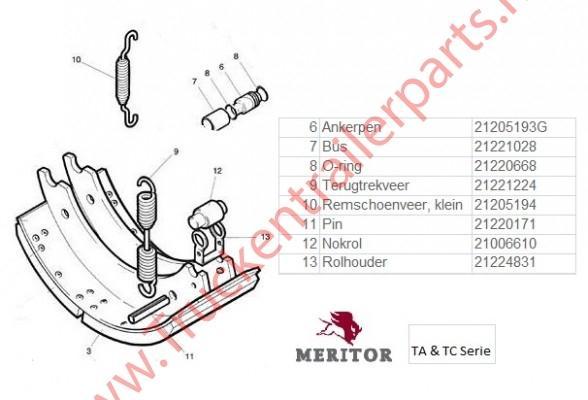 Brake shoe Meritor 420 x 180 LM (Q+) Meritor