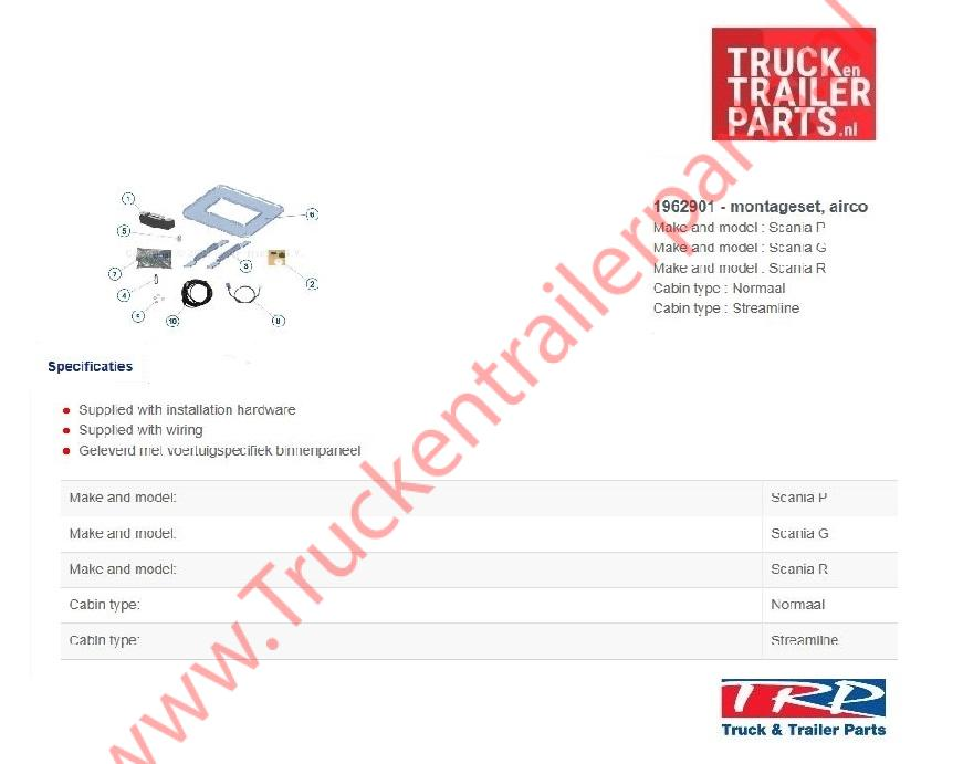 Mountingkit Slimcool tbv Scania PGR series